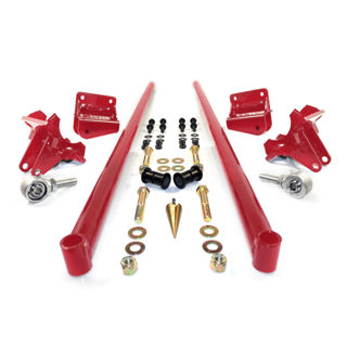 Picture of 2011-2016 Chevrolet / GMC 58 Inch Bolt On Traction Bars 4 Inch Axle Diameter Candy Red HSP Diesel