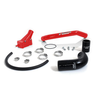 Picture of 2001-2005 Chevrolet / GMC Billet Thermostat Housing Kit W/ Coolant return Blood Red HSP Diesel